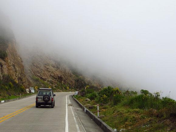 Mindestens so grässlich wie Regen ist pedalen in dichtem Nebel.