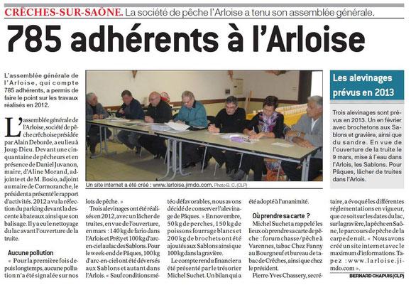 Article du Journal de Saônet et Loire