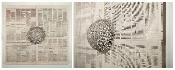 One  脱酸化処理された新聞、ジェードグルー、55cm×60cm、2014年