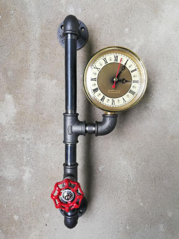 Industrie Wanduhr Industrial Style Uhr Rohruhr aus Eisen Steampunk