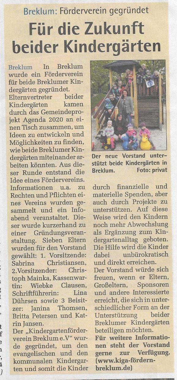 25.03.2015 * Gründung des Breklumer Kindergarten Fördervereins