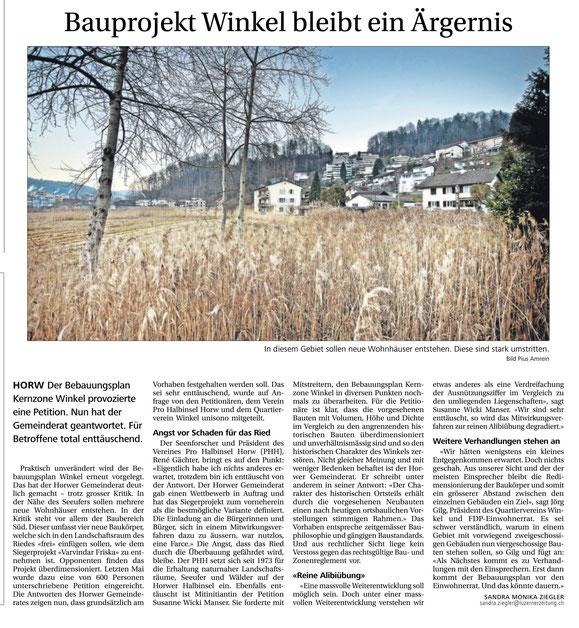 Zeitungsbericht in der Neuen Luzerner Zeitung vom 6.1.2015 zum Bebauungsplan