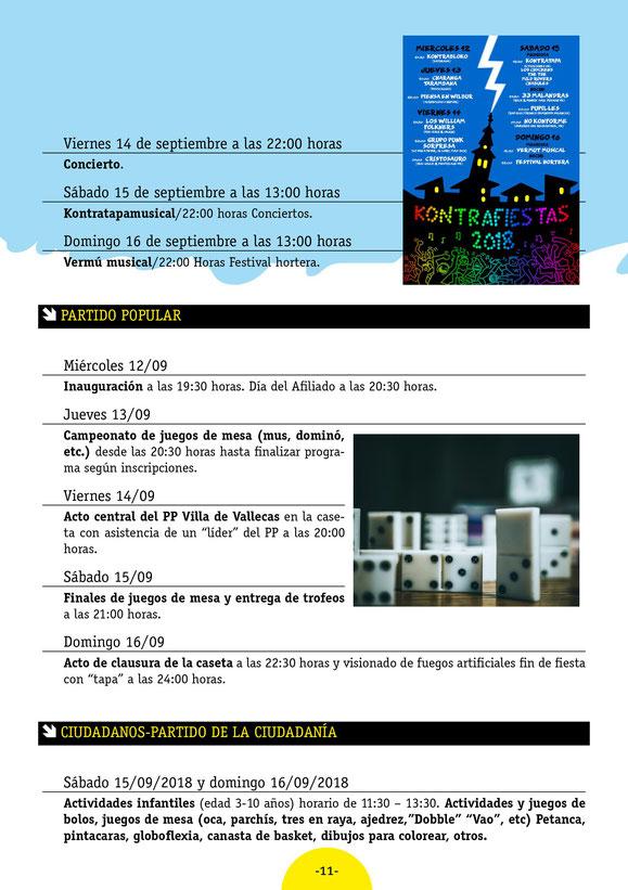 Programa de las Fiestas de Villa de Vallecas