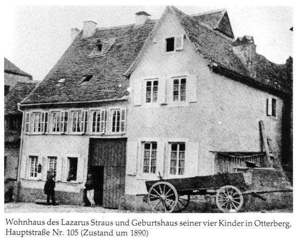 1890,  Ehemaliges Wohnhaus des Lazarus Straus und Geburtshaus seiner vier Kinder in Otterberg. Bild: Museum