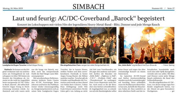 BAROCK AC/DC tribute show Simbach am Inn 2019 Lokschuppen