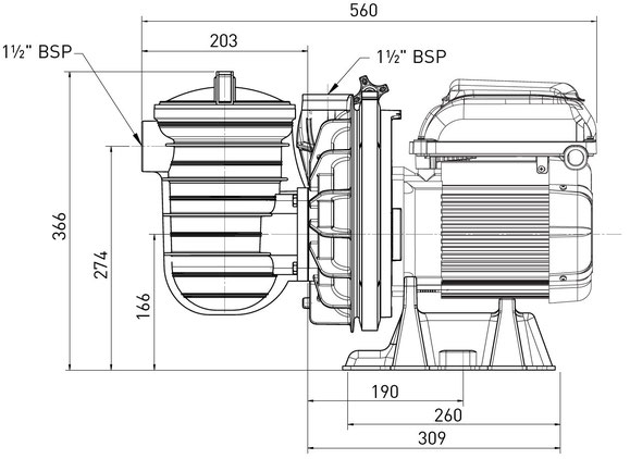 Skizze La Sta-Rite P-STR von Pentair 5P2R Poolpumpe Filterpumpe