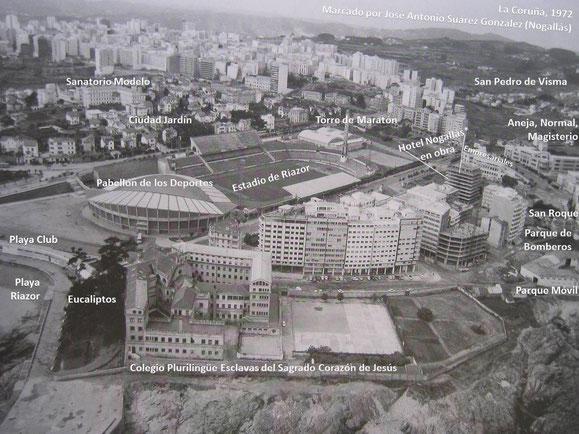 AÑO 1.972,EL PALACIO DE LOS DEPORTES RECIEN CONSTRUIDO,AUN FALTARIAN 10 AÑOS PARA REFORMAR TOTALMENTE EL ESTADIO DE RIAZOR.