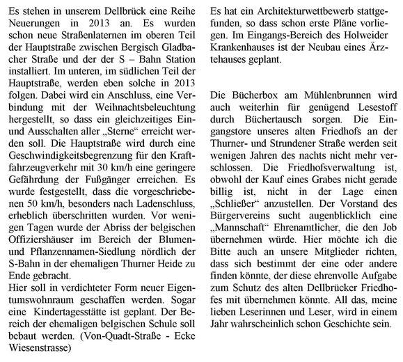 Eine Reihe Neuerungen in Dellbrück