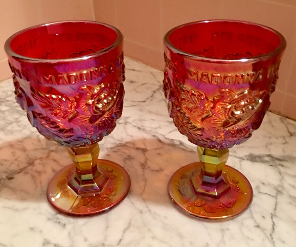 30: SOLD OUT Madonna Inn Ruby Luster Goblet set of 2 $48 value