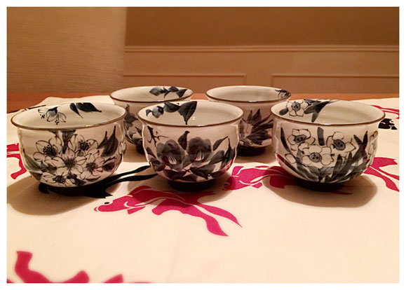 ITEM #16: NEW HAND PAINTED TEA CUPS FROM JAPAN  (VALUE $200)