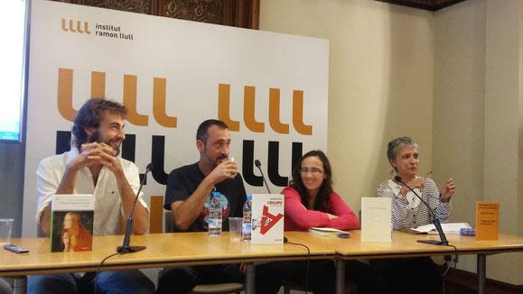 D'esquerra a dreta: Pau Sabaté, Adrià Pujol, Xènia Dyakonova i Anna Montero