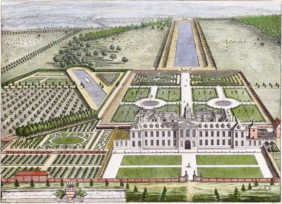 """Wrest House, Kupferstich in """"Britannia Illustrata"""", London 1707"""