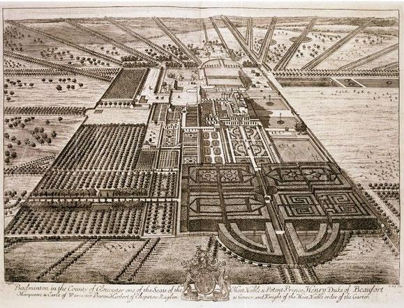"Badminton, Kupferstich in ""Britannia Illustrata"", London 1707"