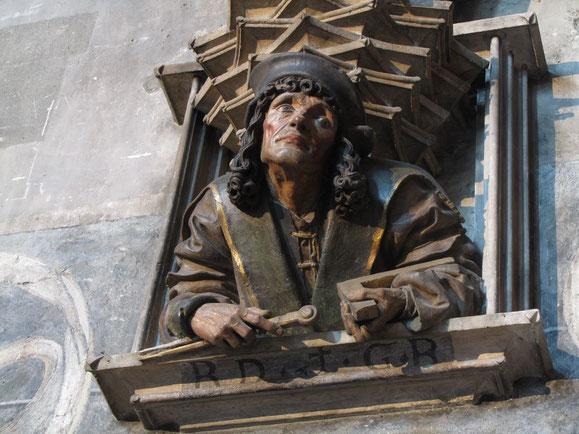 Anton Pilgram, Selbstbildnis am Orgelfuß im Stephansdom, 1513