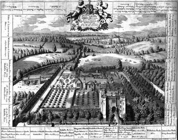 Boarstall Tower, Kupferstich von Michael Berghers, 1695