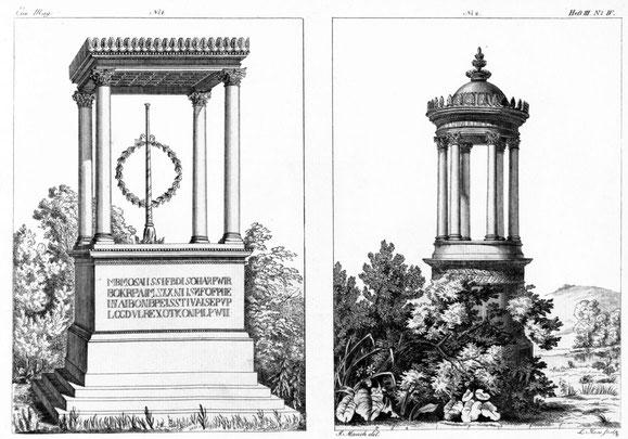 Tafel mit Grabmal von Sack (links) und dem Grabmal Roestel (rechts), Magazin von Abbildungen der Gusswaren aus der Königlichen Eisengießerei zu Berlin, Heft 3, Berlin 1819, Taf. 4