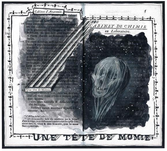 Illustration d'Alexandre Léger : cabinet d'anatomie / tête de momie