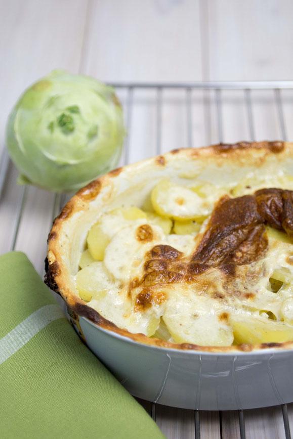 Steamer Rezept: Kartoffel-Kohlrabi Gratin.