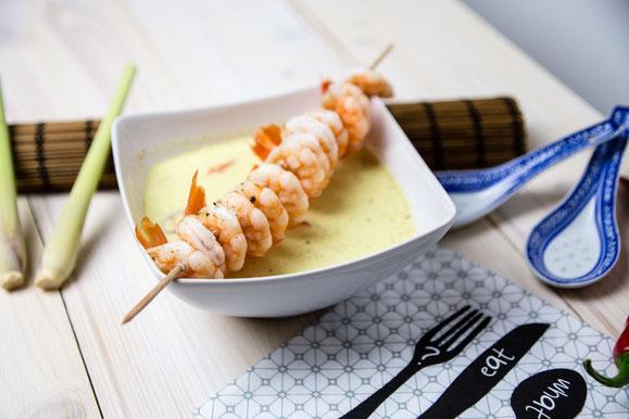 Rezept für Kombi-Steamer und Dampfgarer: Kokos-Suppe mit Garnelen