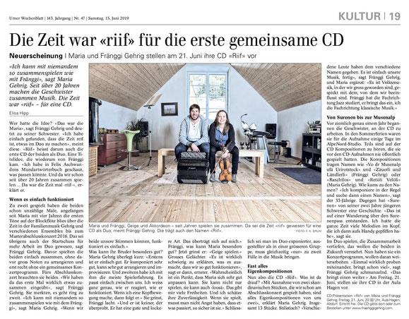 Zeitungsbericht Urner Wochenblatt