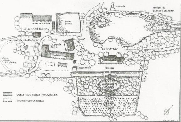 Plan du domaine de Charance aujourd'hui.