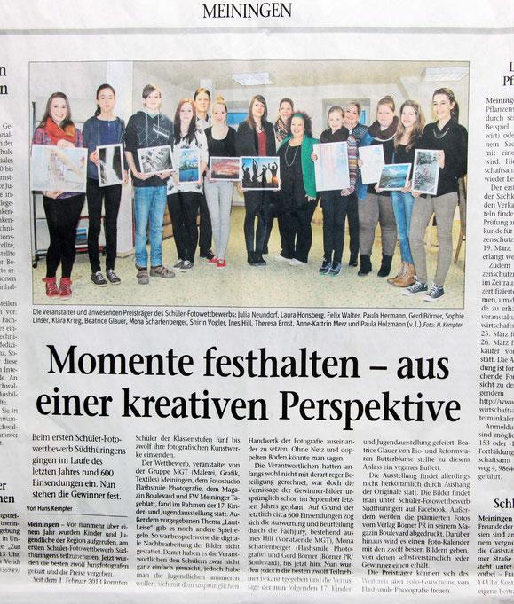 1. Schüler-Foto-Wettbewerb Südthüringens
