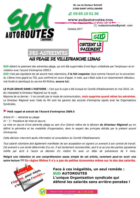 SUD Autoroutes obtient le paiement des astreintes au péage de Villefranche Limas
