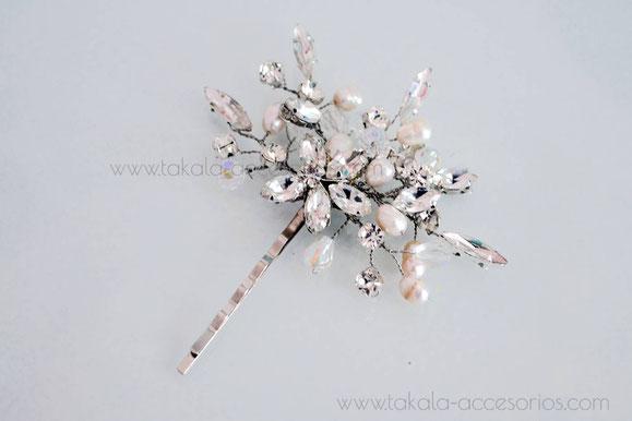 horquilla de novia, horquilla de cristal, pin de novia, tocado