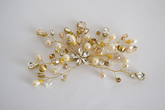 Tocado de novia, aplique de novia, tocado de perlas y cristales, horquilla de novia
