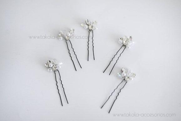 horquillas de novia, tocado de novia, apliques de cristal.