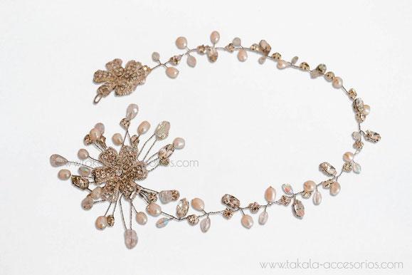 Vincha perlas, hairvine, tocado novia, boho, tocado ramas