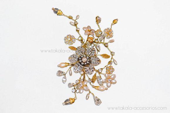 Tocado de novia, aplique de novia, tocado flor, tocado perlas