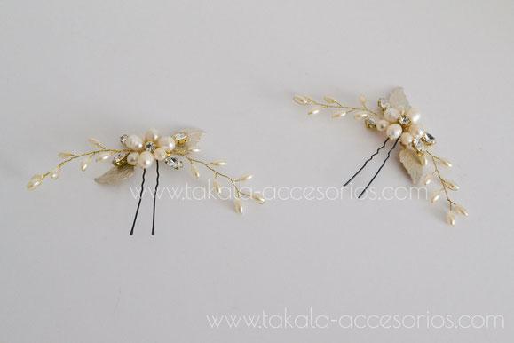 horquillas de perlas, tocado de novia, horquillas de novia