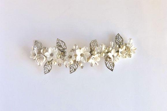 tocado de novia, tocado de porcelana, tocado de flores y hojas