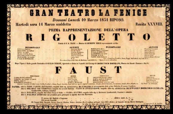 1851年ヴェネチア、フェニーチェ座での初演時の『リゴレット』のポスター