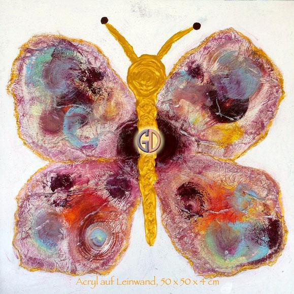 Doris Getreuer, Acryl auf Leinwand, Bunter Schmetterling