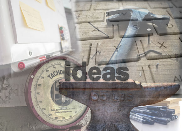 Collage aus Hammer, Amboss, Waage, Fliptchart, Tastatur, Jungo-Grafik