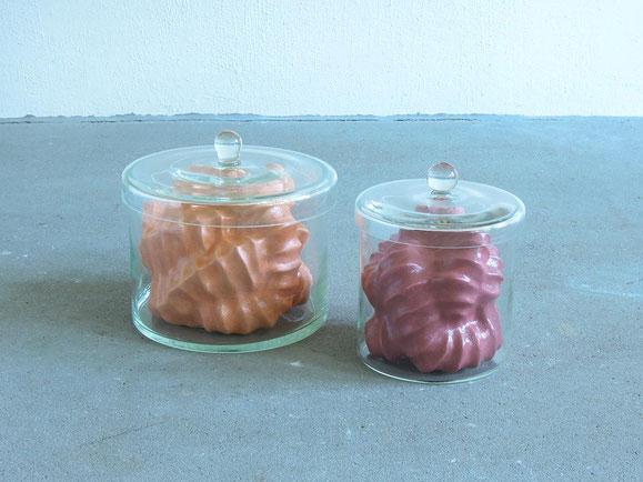Werden, Steinzeugton, Glasur, Glas, Höhe 19 cm