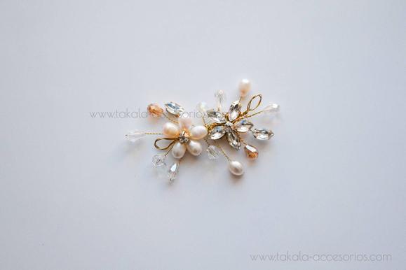horquilla de novia, tocado de novia, tocado de perlas.
