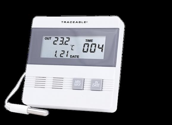 Termómetro digital con sonda plástica para interior / exterior con certificado trazable a NIST 4105