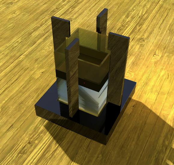 Entwurf für ein Wasserspiel mit integrierter Feuerschale
