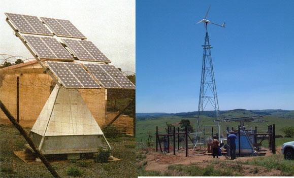 Südafrika: Installation einer dezentralen Energieversorgung mit 6 kW-Windkraftanlage und PV-Anlage. Die PV-Alage wurde auf einer Pyramide montiert, die in den Seitenräumen die Anlagensteuerung, den Batteriespeicher sowie den Propangasmotor integriert hat