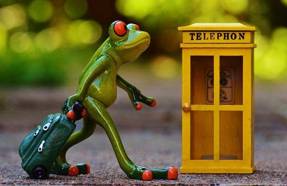 Une grenouille verte et sa valise passe devant une cabine téléphonique jaune, elle part en voyage sans mobile apparent