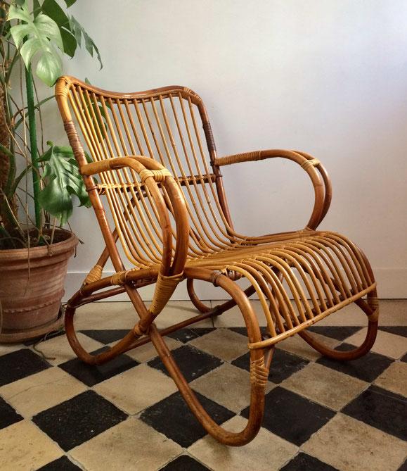fauteuil rotin, fauteuil rotin pieds en huit
