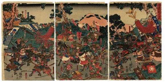 La gran batalla en el norte de la provincia de Echizen. Guerras Genpei.       Kuniyoshi Utagawa.