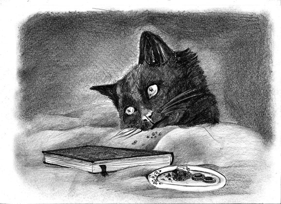 cat art illustration traditional myth fantasy vampires demon