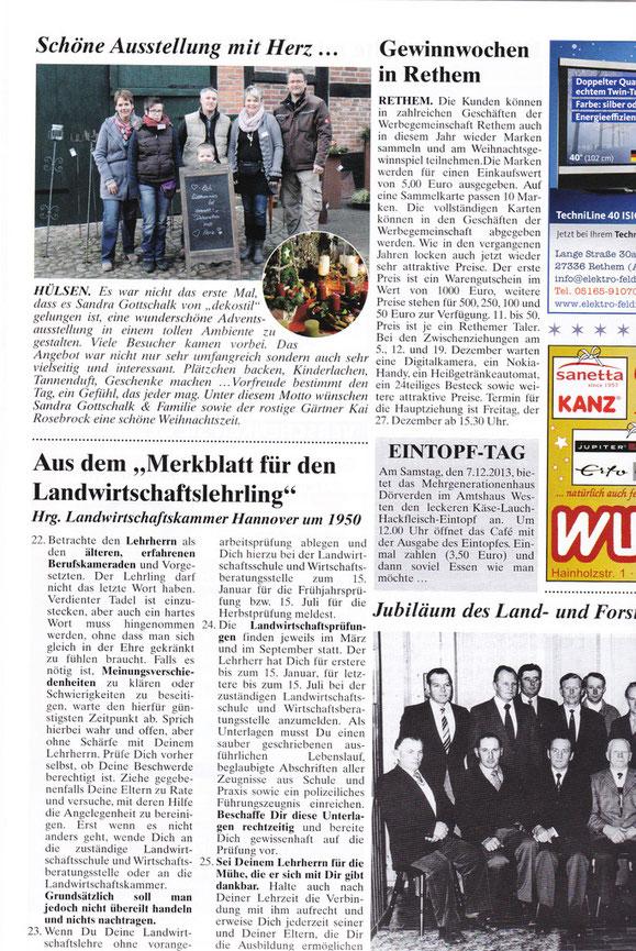 """Bericht aus der Zeitschrift """"Das Blaue Blatt"""" Nr. 7 Dez.2013 / Jan. 2014"""
