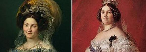 A la izquierda, la regente María Cristina. A la derecha, Isabel II. (Imagen de 'elcorreo.com')