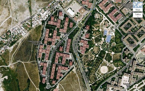 Imagen aérea del barrio de Covibar, que hasta 2004 perteneció en parte al distrito de Vicálvaro