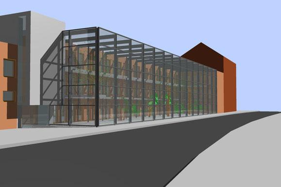 Entwurf Südfassade mit geschlossenem Gewächshaus
